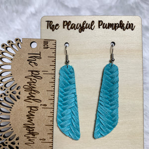 Turquoise Braided Skinny Oblong Leather Earrings