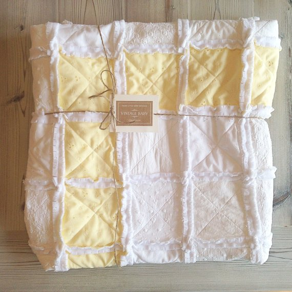 Vintage White & Yellow Rag Quilt - The Savannah