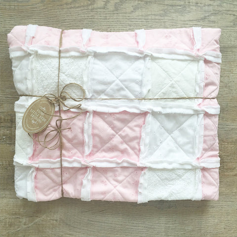 Vintage Pink and White Baby Rag Quilt -The Spencer