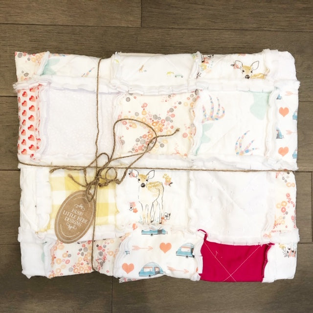 NEW- Remnants Rag Quilt  for Girls -