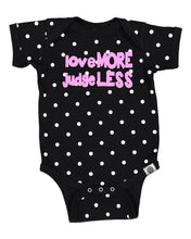 Load image into Gallery viewer, love MORE judge LESS Rebel Baby Onesie