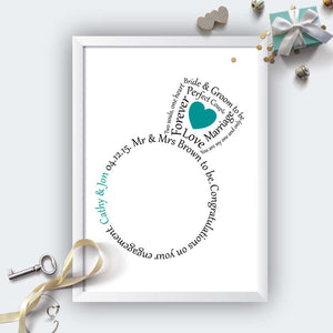 Personalised Engagement Ring Heart Print-white