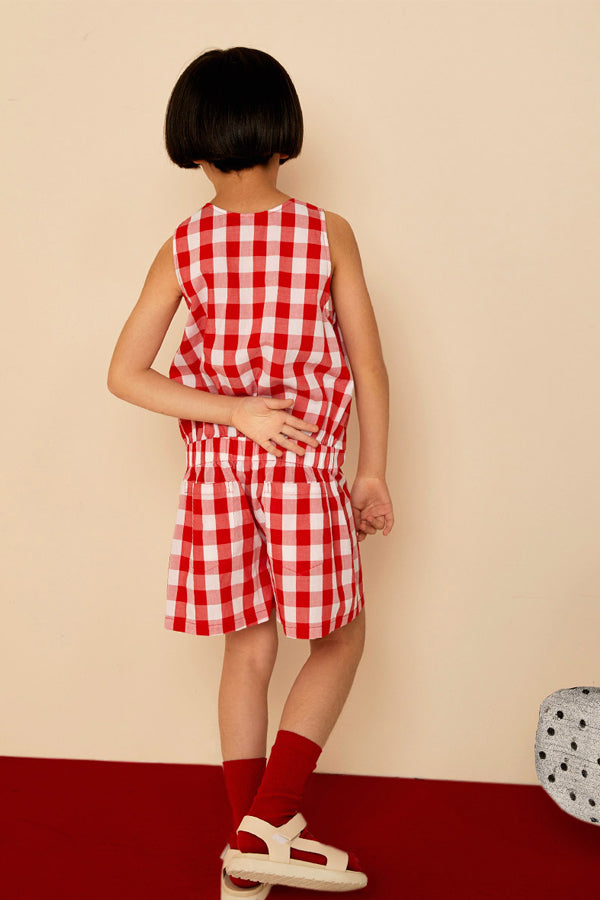 【30%OFF】Milk & Biscuits Red gingham jumpsuit