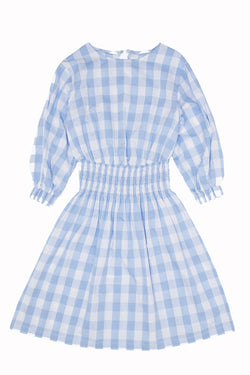 【30%OFF】Milk & Biscuits Blue gingham smocked dress