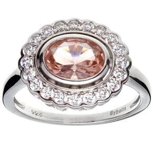 Oval Morganite And Clear Cz Ring