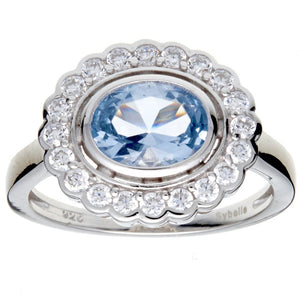 Oval Blue And Clear Cz Ring