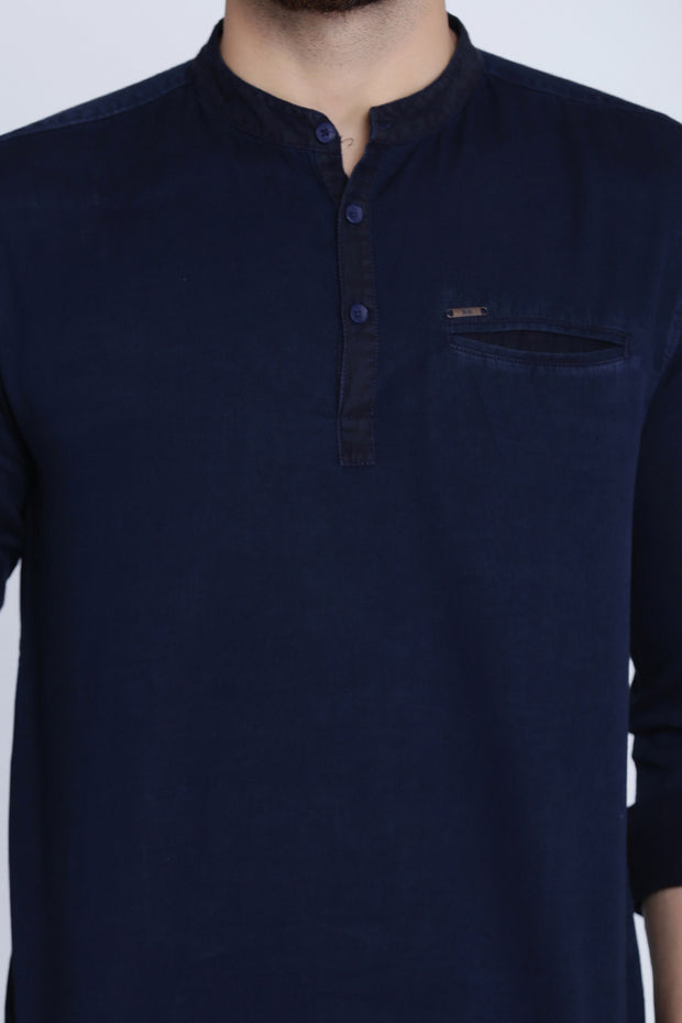 Solid Navy Blue Cotton Slim Fit Casual Shirt