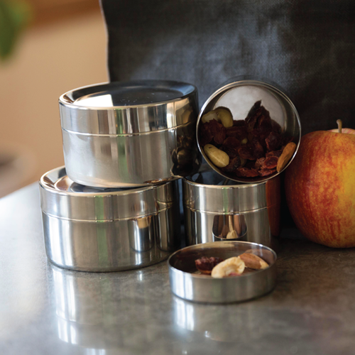 The zero waste To-Go Ware® Sidekick Snack Container is 14/1 grade stainless steel. Two sizes, perfect for snacks, and Certified B Corporation® product.
