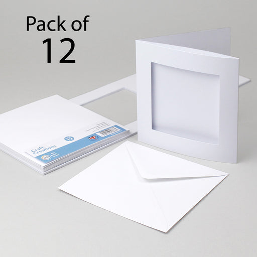 Classic White Square Aperture Cards & Envelopes 144x144mm (Pack of 12)