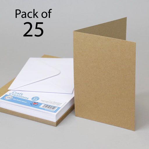 Brown Kraft 127x178mm 5x7 Single Fold Cards & Envelopes (Pack of 25)