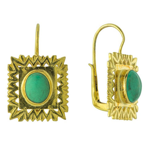 Framed Turquoise Deco Earrings