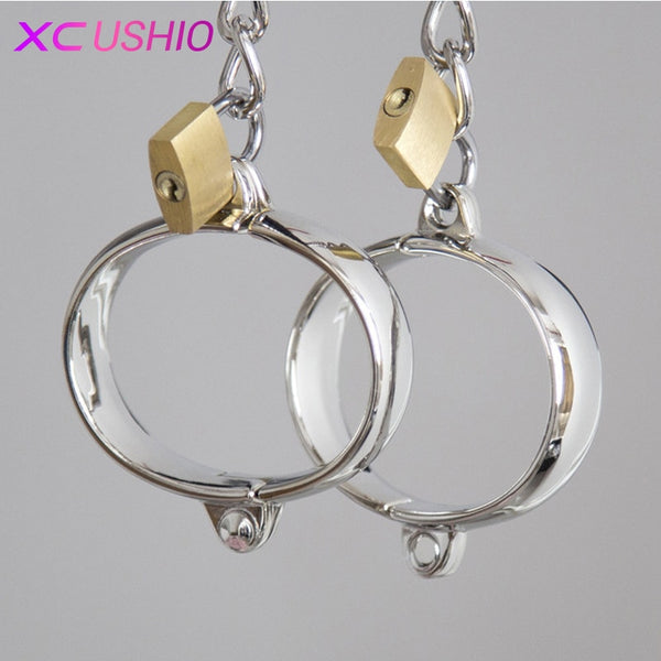 1 Pair Stainless Steel Female Male Handcuff Metal Ankle Cuffs Wrist Cuff For Couple bdsm Bondage Restraints Adult Game Sex Toys