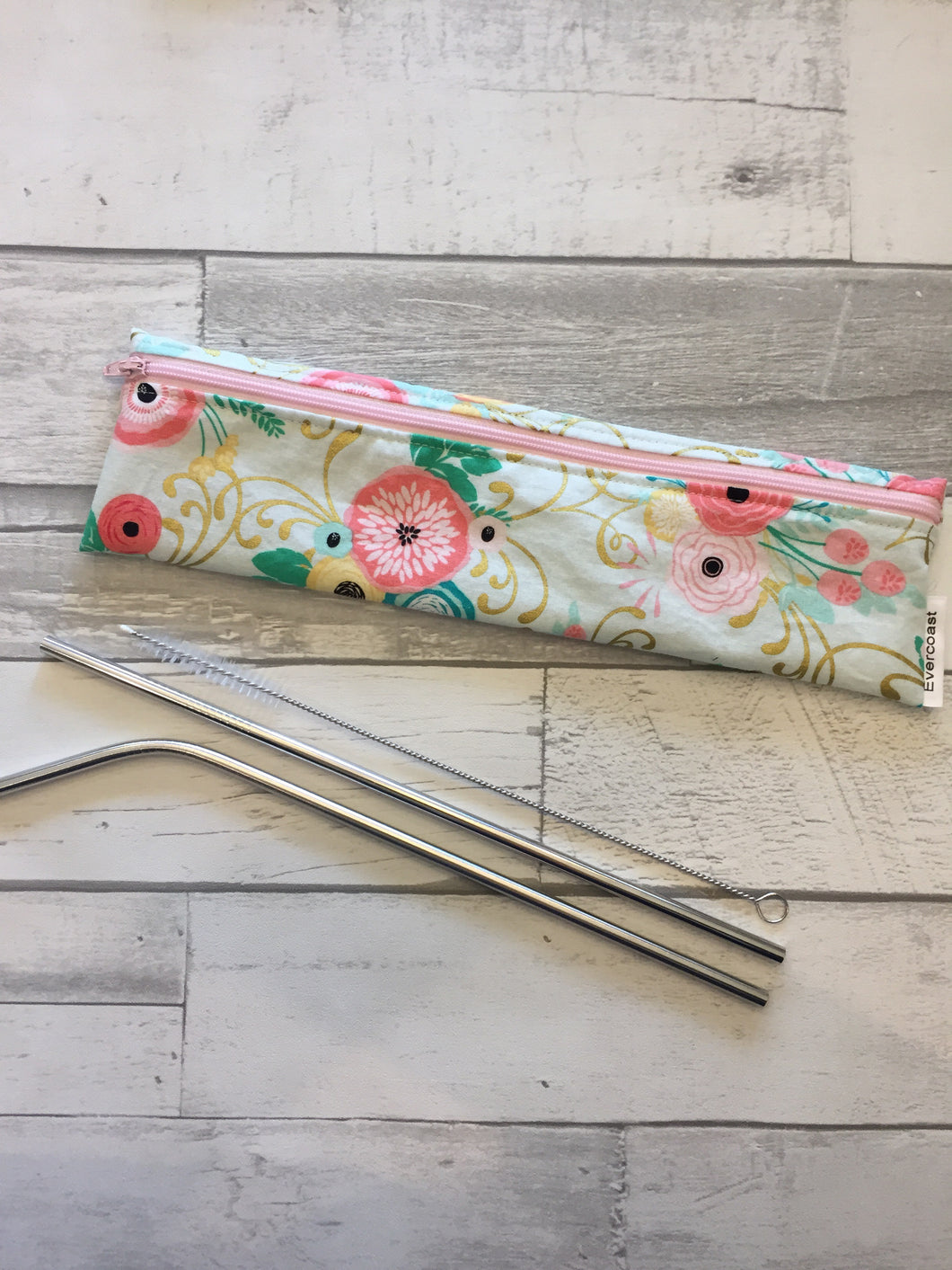 Gold metallic Floral Reusable Straw/Utensil Bag