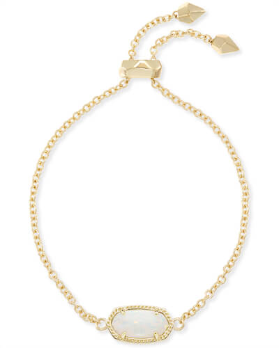 Kendra Scott Elaina  Adjustable Chain Bracelet In White Kyocera Opal