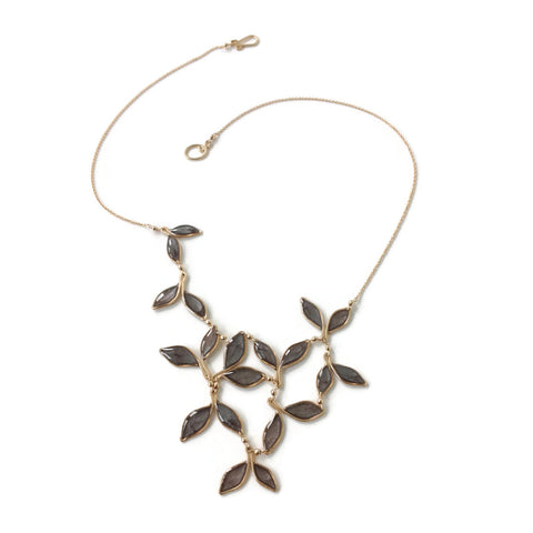 Pearl Gray Anthos Leaf Bib Necklace by Carla De La Cruz Jewelry