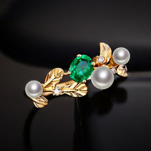 Load image into Gallery viewer, 14k Yellow Gold Natural 0.32ct Emerald with Pearl & Diamond Vintage Design Ring