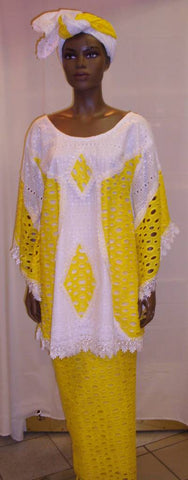 Yellow & White Cotton Lace