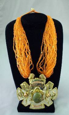 Orange Beaded & Metal Necklace
