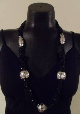 Black Beaded Necklace Set