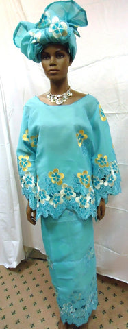 3pc Light Blue Lace