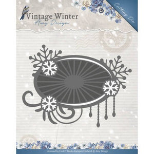 Amy Design - Dies - Vintage Winter Collection - Snowflake Swirl Label