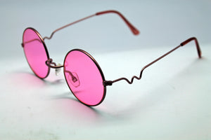 Lennon Style Sunglasses with Pink Lenses Pink Frames