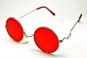 Lennon style sunglasses with red lenses and gold frames