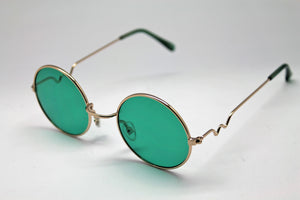 Lennon style sunglasses with Green lenses and gold frames