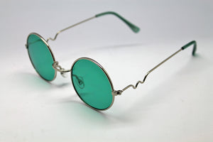 Lennon style sunglasses with Green lenses and silver frames