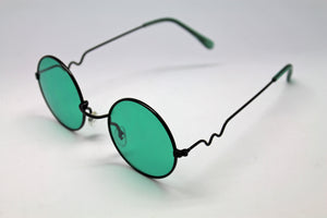 Lennon style sunglasses with Green lenses and black frames