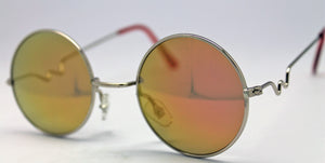 Lennon Style Sunglasses with Gold Red Mirror Lenses Silver Frames