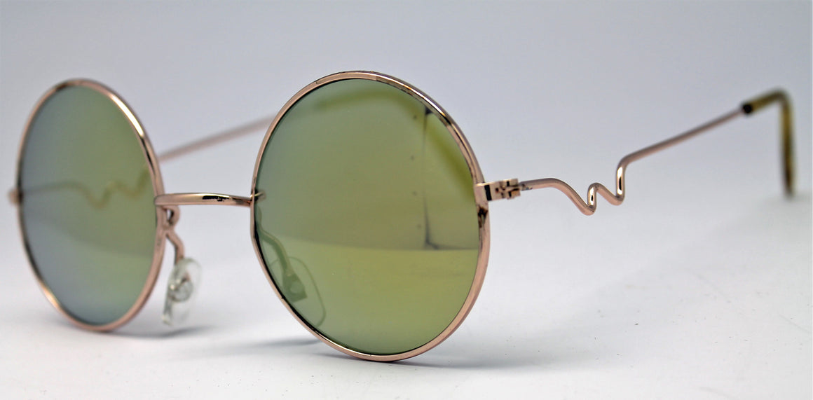 Lennon Style Sunglasses with Yellow Gold Mirror Lenses Gold Frames