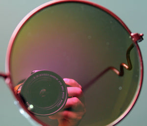 Lennon Style Sunglasses with Gold Red Mirror Lenses