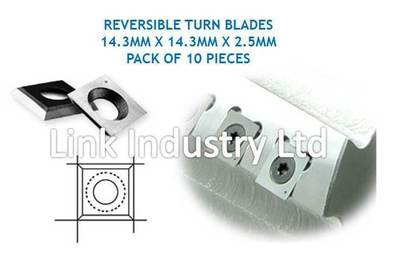 10 pces. 14.3 x 14.3 x 2.5mm CARBIDE REVERSIBLE TURN BLADES TIP KNIVES, 4 EDGES.