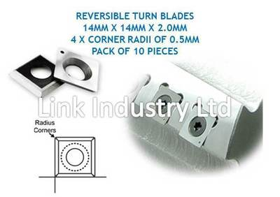 10 pces. 14 x 14 x 2.0mm, 4 x 0.5MM CORNER RADII, CARBIDE REVERSIBLE TURN BLADES