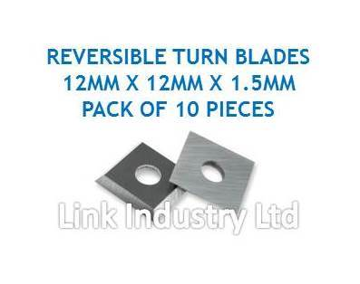 10 pces. 12 x 12 x 1.5mm CARBIDE REVERSIBLE TURN BLADES, REVERSIBLE TIP KNIVES