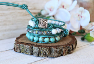 handmade natural turquoise leather wrap bracelet