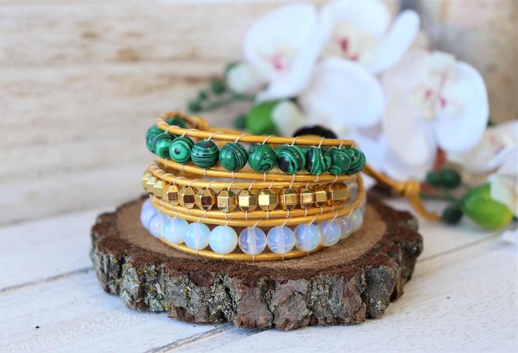 handmade malachite leather wrap bracelet