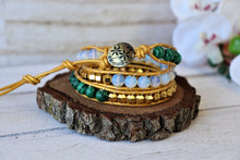 Load image into Gallery viewer, handmade malachite leather wrap bracelet