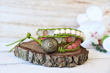 Load image into Gallery viewer, handmade natural jade leather wrap bracelet