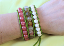 Load image into Gallery viewer, handmade jade leather wrap bracelet