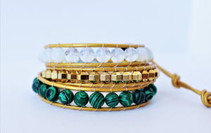 golden beaded leather wrap bracelet
