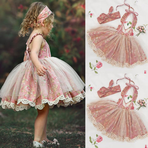 Kids Lace Floral Tulle Party Dress