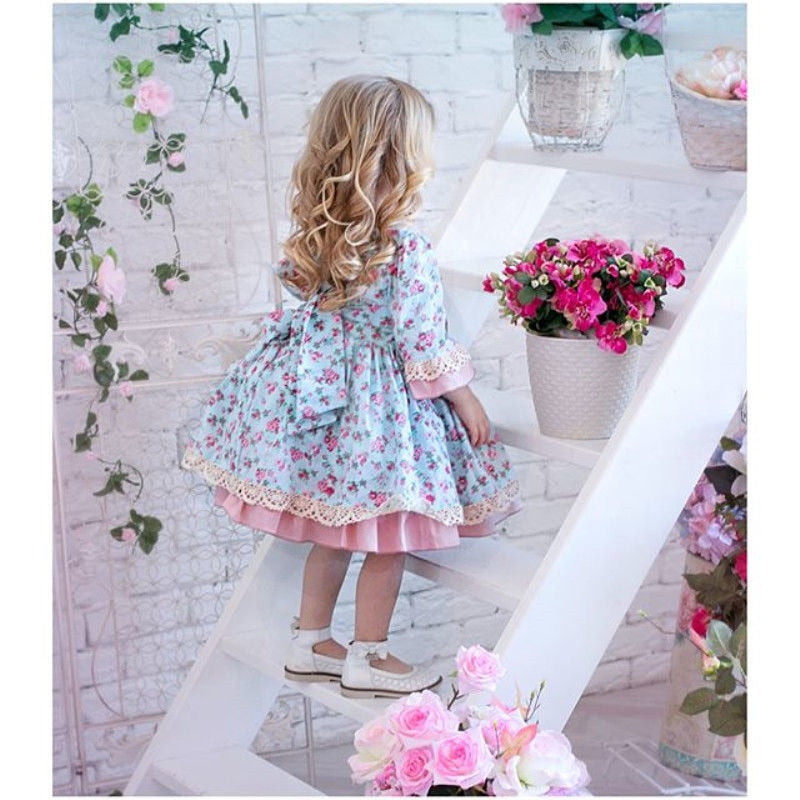 Floral Lace Bowknot Ruffles Dress Birthday Wedding Party