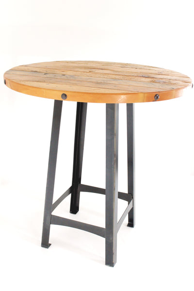 FLYNN PUB TABLE with RIVETED PINE TOP ROUND