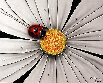 Black and White Flower - Lady Bug by Michael Godard