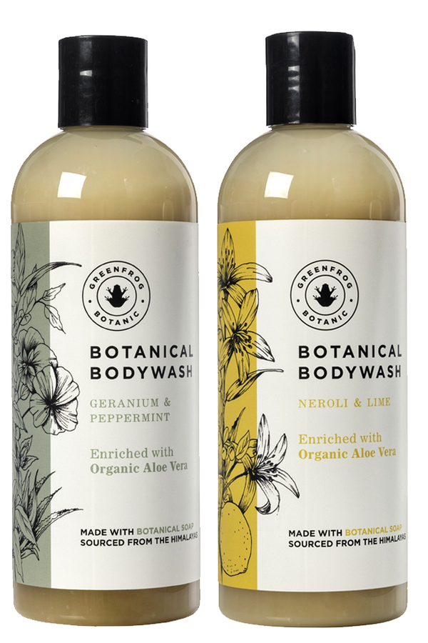 Natural Body Wash Gift Twin Set - 300ml Geranium & Peppermint and Neroli & Lime