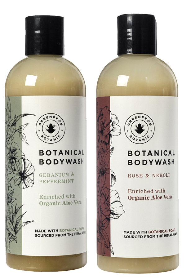 Natural Body Wash Gift Twin Set - 300ml Geranium & Peppermint and Rose & Neroli