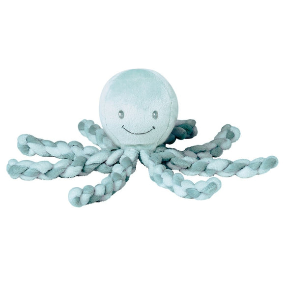 calm and soothe your baby with piu piu the octopus by nattou in mint green and copper green