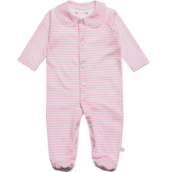 pink stripe baby sleepsuit designed and manufactured in the united kingdom for teddy and me